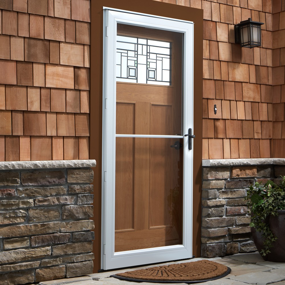 Glass Storm Doors : Door storm tan with decorative glass